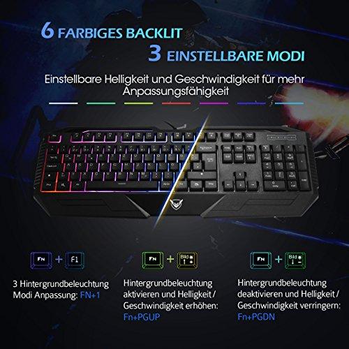 Gaming Tastatur, Pictek 26 Key Anti-Ghosting-Tastatur mit verstellbarer Rainbow LED-Hintergrundbeleuchtung, ergonomische Handballenauflage, wasserdichte Computer-Tastatur für Gamer-Typisten - 5