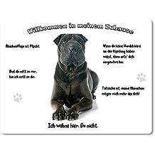 Merchandise for Fans Blechschild/Warnschild/Türschild - Aluminium - 15x20cm - -Willkommen in meinem Zuhause - Motiv: Shar Pei/Faltenhund - 01
