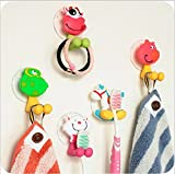 Zahnbürstenhalter Kinder,YTTX (5 Stück) Wand Tiere Cartoon Halter mit Saugnapf für Zahnbürsten Halterung Wandhalterung