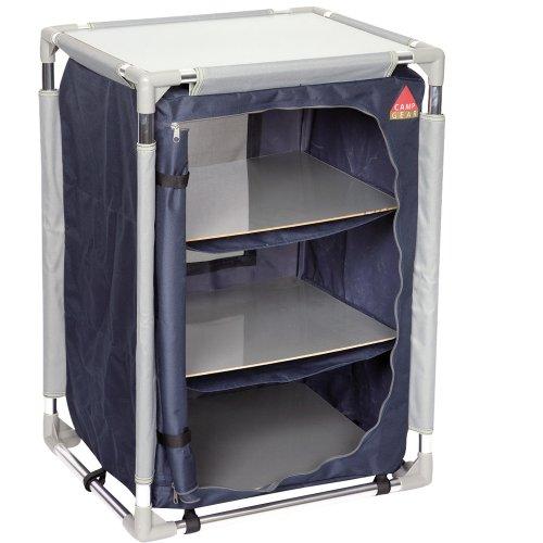 Preisvergleich Produktbild Camp Gear Allzweckschrank mit 3 Böden, 47x57cm, blau/grau, einfacher Aufbau: Campingschrank Textilschrank Stoffschrank Kleiderschrank Faltschrank Schrank