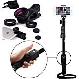 Captas Yt-1288 Bluetooth Selfie Stick With 3 In 1 Mobile Camera Lens (Wide/Macro/Fish-Eye) For Android/Ios Devices (Color May Vary)