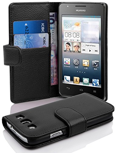 Cadorabo Hülle für Huawei Ascend G525/ G520 Hülle in Handyhülle mit Kartenfach aus Struktriertem Kunstleder Case Cover Schutzhülle Etui Tasche Book Klapp Style Oxid Schwarz