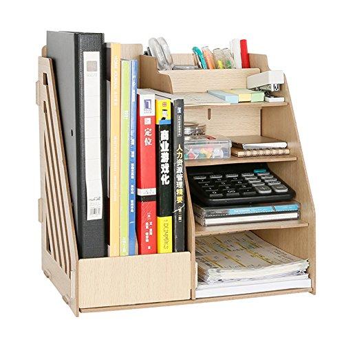 yiliay Holz Schreibtisch Supplies Tidy Büro Storage Box Desktop Organizer Rack Datei dividers-wood (Anzeige Storage Box Organisieren)