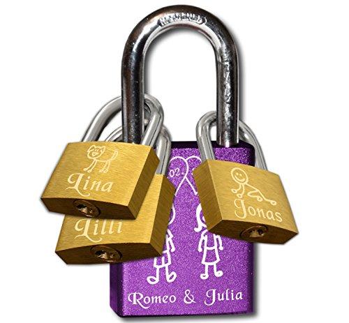 Violettes Familien Liebesschloss (Familie | Großfamilie mit 3 Zusatzschlössern)| 1x 40mm (violett | lila) + 3x 25mm (messing, goldfarben)