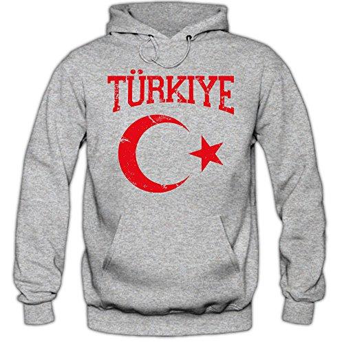 Shirt Happenz Türkei Emblem Premiumhoodie Türkei Republik Türkei Ankara Herren-Kapuzenpullover, Farbe:Graumeliert;Größe:S