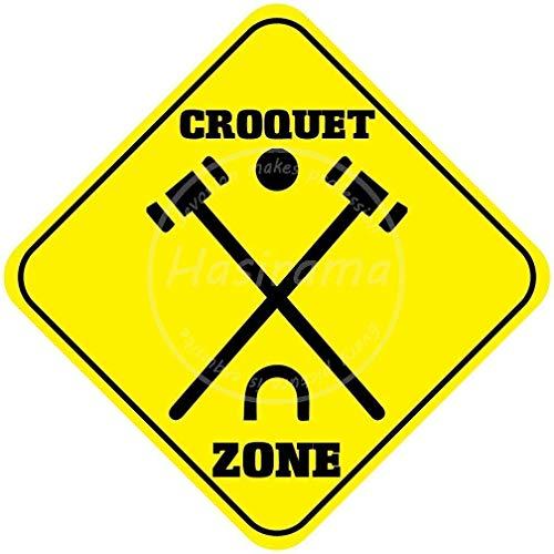 CDecor Croquet Zone Blechschilder, Metall Poster, Retro Warnschild Schilder Blech Blechschild Malerei Wanddekoration Bar Geschäft Cafe Garage