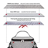 Godmorn Lunch Bag Waterproof Picnic Tote Bag Thermal Cooler Insulated Portable Tote Storage Box with Adjustable Shoulder Strap,Cooler Bag for Office / School / Picnic , 9L (Grey)