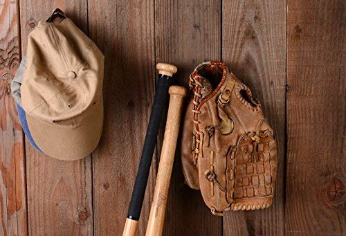 EdCott Baseball Stillleben Fotografie Hintergrund 7x5ft Holz Fledermaus Hut Kappe Vintage Holz Rustikalen Hintergrund Wand Braun Leder Baseballschläger Hintergrund Studio Prop -