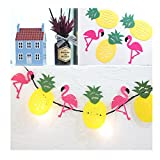 ODN Party Banner Decor Hawaiian Tropical Flamingo Pineapple Summer Garland Bunting