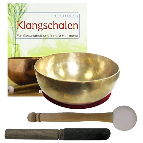 Therapie KLANGSCHALE 600-700g + BUCH Peter Hess 5-tlg Klangmassage SET. KLEINE HERZSCHALE Handarbeit NEPAL + Klöppel + ZUBEHÖR. 70192-2