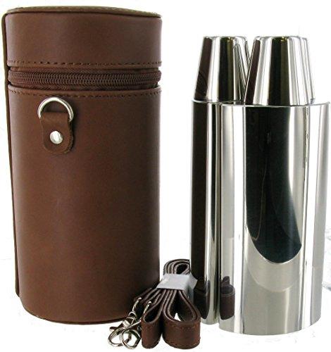 24oz Brown Spanish Leather 3 Flask Set - Brown Flask