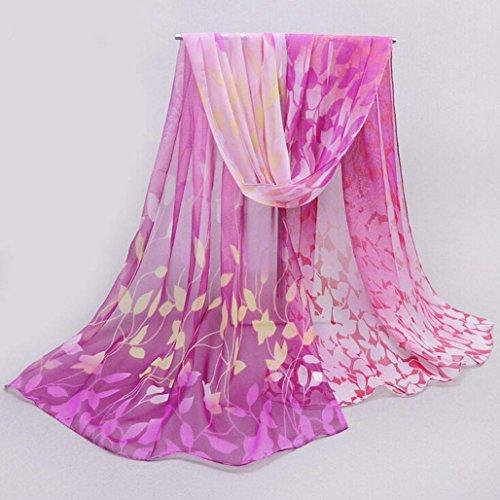 Transer ® Femelle Écharpes,Femmes Unique Design Imprimé Fleur de soie douce en mousseline de soie Châle Wrap Wraps Écharpe Écharpes -Beaucoup de couleurs Violet