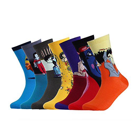 Vbiger 7 Paar Herren Thermosocken Baumwollsocken Art Patterned Casual Crew Socken (Casual Crew-socken)