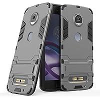 Ougger Fundas Motorola Moto Z2 Play (Z Play2) Carcasa Cover, Protector Absorción de Impacto Armadura Protector Cover Tapa Duro Plástico + Suave TPU Silicona Ligero 2in1 Combinación Tapa Gris