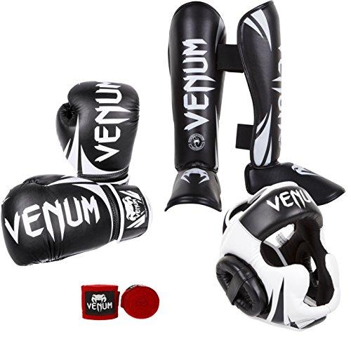 Venum Boxset Challenger 2.0 Boxen Set Rot Bänder 10 oz Handschuhe/Medium Schienbeinschützer