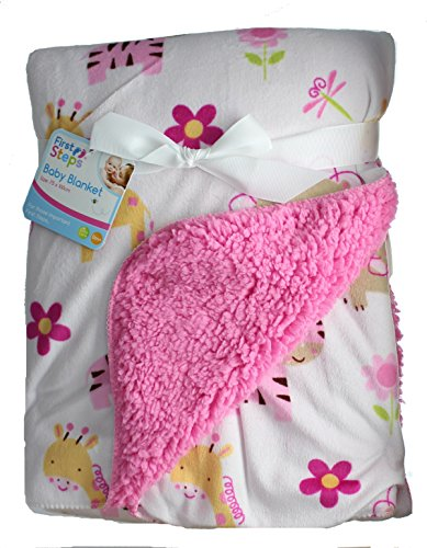 first-steps-soft-colourful-printed-design-sherpa-lined-baby-blanket-jungle-animals-pink