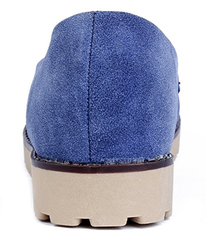 AgeeMi Shoes Femme Moccasin Plat Nubuck Semelles Antidérapantes Chaussures Bleu