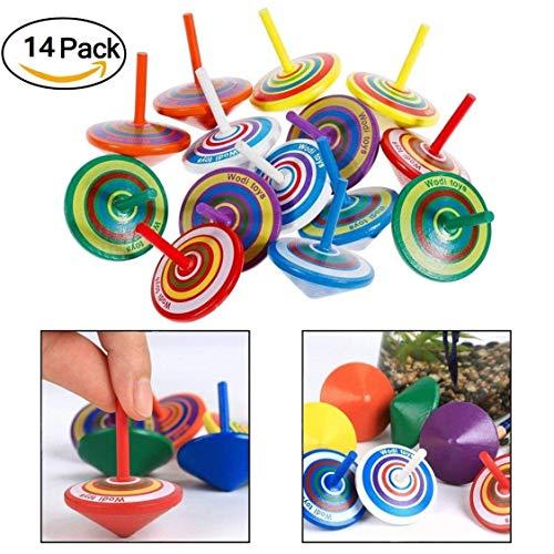 VanseRun 14 Piezas Juego peonzas trompos Madera peonza trompo Juguete, Mini Colorido Giroscopios de Madera Artesanales para Juguetes de Fiesta Infantil (Color Aleatorio)