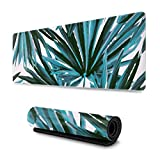 Soft Gaming Mouse Pad Large Tropical Palm Leaves In Botanical Green + Shell Non-Slip Rubber Base Soft Computer Keyboard Mice Mat