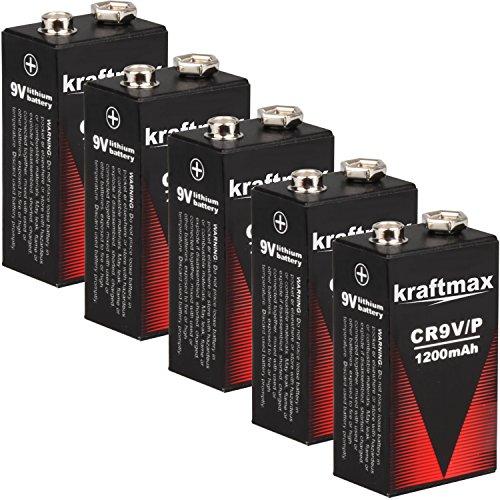 5x Kraftmax 9V Block Lithium Hochleistungs- Batterien für Rauchmelder / Feuermelder - 10 Jahre Batterie Lebensdauer