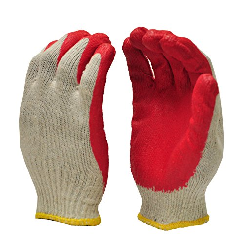 G & F 3106-10 Large Latex Dipped Nitrile Coated String Knit Palm Work Gloves - Red (10 Pair) -