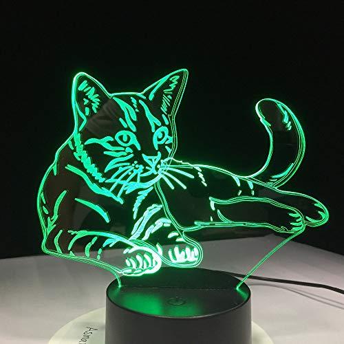 PDDXBB 7 Bunte Katze 3D Acryl Lampe Led Nachtlicht USB Touch Sensor Licht Kinder Nette Nachttischlampe Schlafzimmer Licht Kinder Geschenke Sieben Farben 87 * 87 * 49Mm (Fernbedienung Basis)