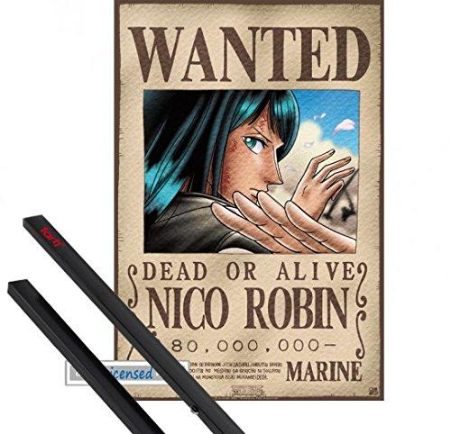 Poster + Hanger: One Piece Mini-Poster (52x35 cm) Wanted Nico Robin Inklusive Ein Paar 1art1 Posterleisten, Schwarz