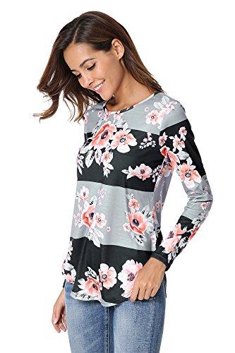 Yidarton Donna Lungo Manica T-shirt Camicia Stampa Floreale Maniche Lunghe Camicetta grigio nero