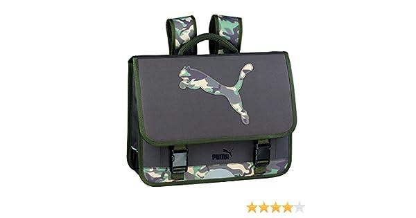 Cartable scolaire 3 compartiments puma 41cm camouflage vert kaki