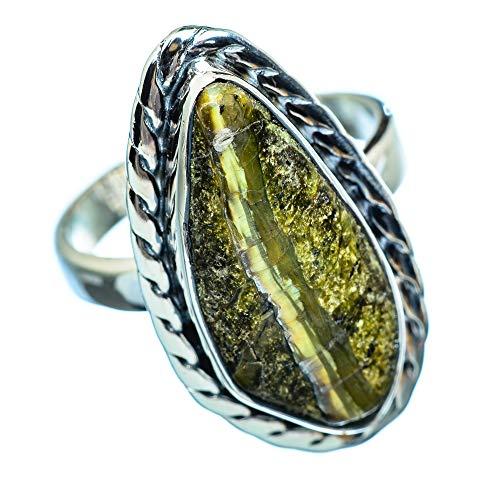 African Green Opal, Afrikanischer Grüner Opal 925 Sterling Silber Ring 8.25 (Ana Silver Co Ringe Grün)