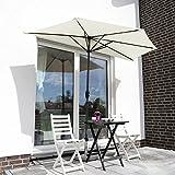 Sekey Ombrellone Mezzaluna Salvaspazio in Ombrello Parasole da Esterno da Giardino 270 cm Protezione Solare UV50+ Crema