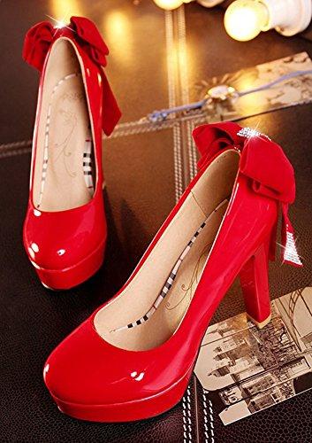 Aisun Femme Elégant Nœud Papillon Plateforme Escarpins Rouge