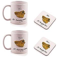 Idea Regalo - Ukgiftbox - Set regalo di 2 sottobicchieri e 2 tazze per lui e per lei, anniversario nozze d'oro