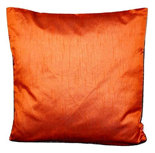 Basics Orange einfarbig Kissenbezug mit unsichtbarer Reißverschluss, 100% weiche Dupionseide Kissenhülle für Sofa & Bett Kissen - 40 cm x 40 cm - RD9 -