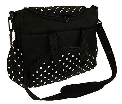 Baby Wickeltasche Kinderwagentasche Reisetasche Windeltasche Pflegetasche Babytasche Tragetasche Muster Schwarz und weiß Punkte Dots [059]