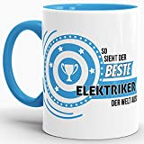 Berufe-TasseSo Sieht der Beste Elektriker aus Innen & Henkel Hellblau/Job/Tasse mit Spruch/Kollegen/Arbeit/Fun/Mug/Cup/Geschenk/Beste Qualität - 25 Jahre Erfahrung