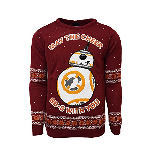 Star Wars Official BB-8 Christmas Jumper / Sweater - Medium (Trim Pullover Roll)