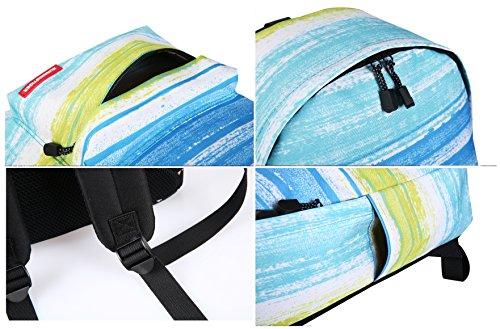 Artone Unisex Nylon Sternenklar Galaxis Universum Rucksack Passen 15 Laptop mit Umhängetasche Kordelzug Tasche und Mäppchen Blau Set von 4 Streifen Set von 2