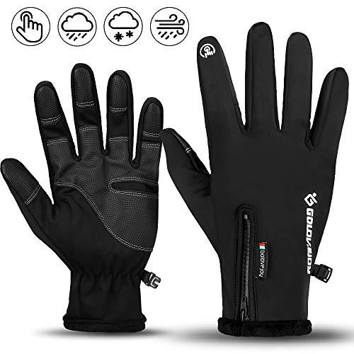 Touchscreen Handschuhe,Unisex Warme wasserdichte Fahrradhandschuhe Anti-Rutsch Full Finger Laufhandschuhe Winddichte Atmungsaktive Winterhandschuhe-vollfinger mit Zip|Radsport Laufen
