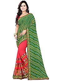 RIVA ENTERPRISE Women's Georgette Embroidered Saree With Blouse Piece (RIVA208__Green And Pink_Free Size)