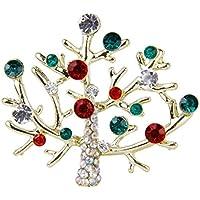Tinksky Strass incorporato dell'albero di Natale a forma di Pin spilla Breastpin