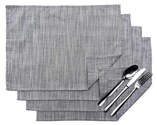 Exerz Cosyaurora - Lot de 4 Sets de Table en Lin Naturel/Basic Lin/Doux Tissu Lin/Salle à Manger Sets de Table (Light Grey)