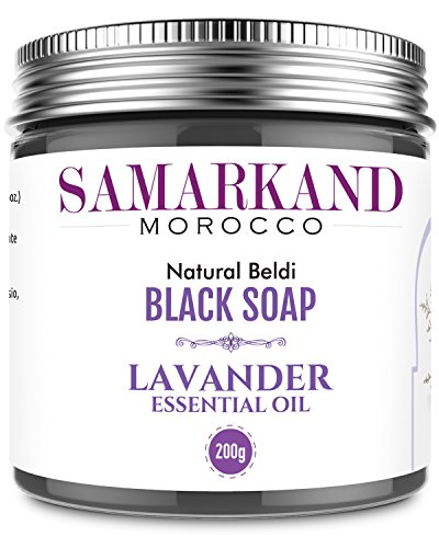 Lavendel-seife (Schwarze Seife aus Marokko mit Lavendel 100% Natürlich Beldi für Hammam - Das Original Marokkanisch 200 gr)