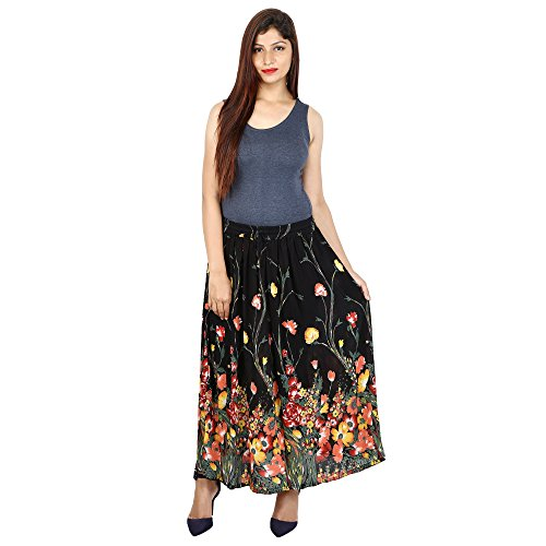 Shree Ram Impex Women's Multicolor Rayon Printed Long Skirt