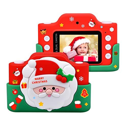 """Funkprofi WiFi Digitalkamera für Kinder mit Cartoon Schutzhülle 2 Objektive 24 MP HD 2.0"""" IPS-Bildschirm mit Aufklebern Digitalkamera als Geschenk Spielzeug (Weihnachtsmann)"""