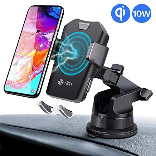 Induktions Ladegerät Auto Qi Ladestation Handyhalterung KFZ Lüftung Halter,7.5W Kabellose Schnellladegerät für iPhone X/XR/XS Max/8/8P,10W Fast Wireless Charger für Samsung S10/S9/S9+/S8/S7/Note8/5