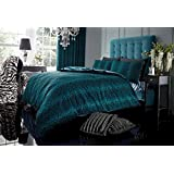 TEAL LEOPARD PRINT DOUBLE DUVET COVER BED SET - INCLUDES QUILT COVER & PILLOW CASES