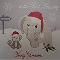 WHITE COTTON CARDS To the Best Mummy Merry Christmas Handmade Elephant and Monkey Card