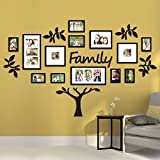 """19-Piece Picture Frames Eye-Catching Collage """"Family"""" Tree Picture Frame Set In Black (Set Holds Up To 17 Photos Total) - Newest Arrival Painting By Paper Plane Design"""