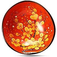 cuenco de coco naranja con flores amarillas venta